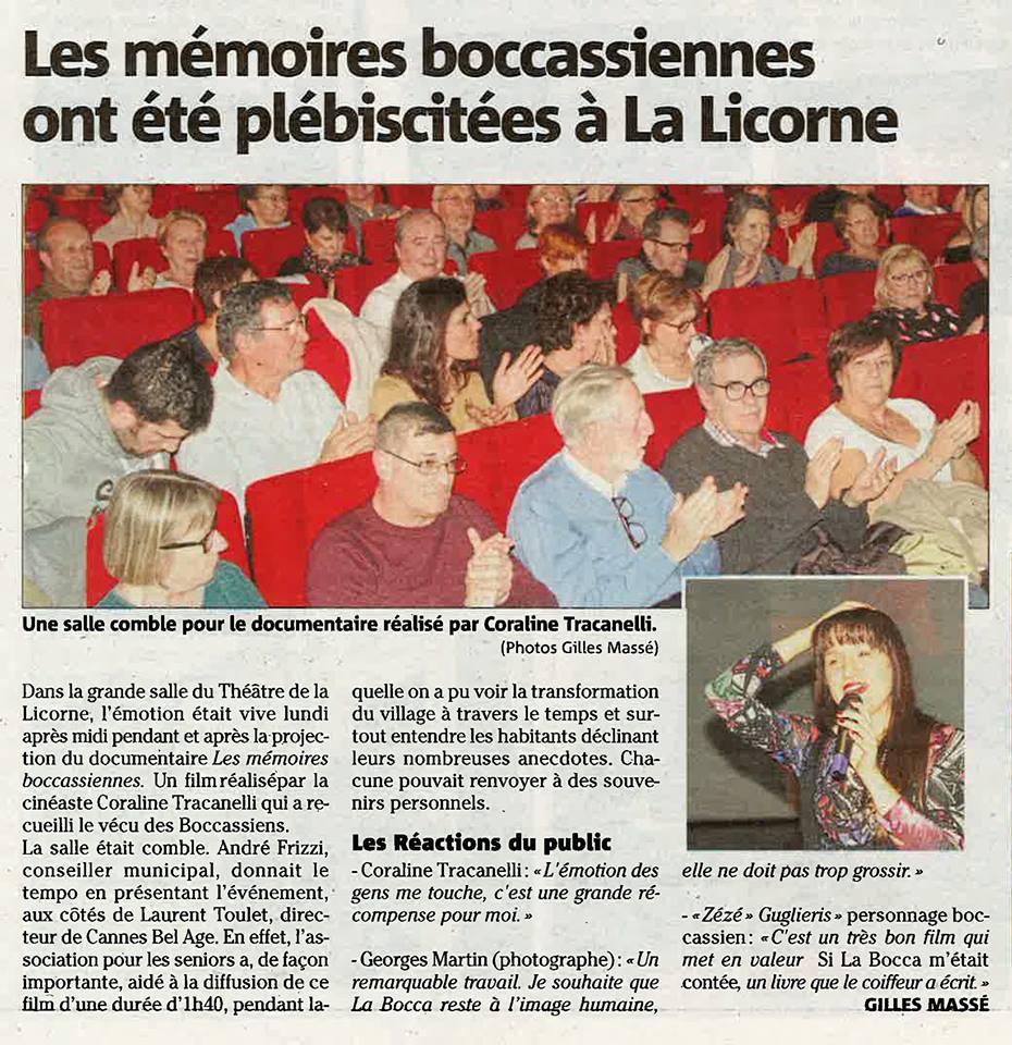 Avant-première du documentaire Les Mémoires Boccassiennes
